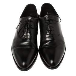 Prada Black Leather Lace-Up Oxfords Size 41