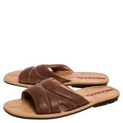 Prada Sports Brown Leather Flat Slide Sandals Size 42