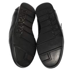 Prada Black Leather Low Top Sneakers Size 41