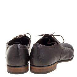 Prada Dark Brown Leather Cap Toe Lace Up Oxford Size 42.5