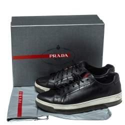 حذاء رياضي برادا سبورت منخفض من أعلى جلد أسود مقاس 43.5