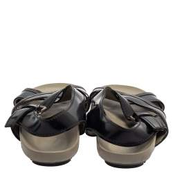 Prada Black/Blue Leather Slingback Slide Sandals Size 43
