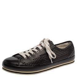 Prada Sport Black Perforated Leather Lace Up Sneakers Size 45