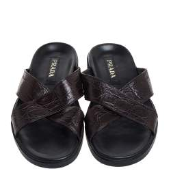 Prada Brown Crocodile Leather Slider Sandals Size 43