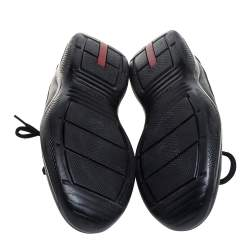 Prada Black Leather And Mesh Nevada Bike Sneakers Size 41.5