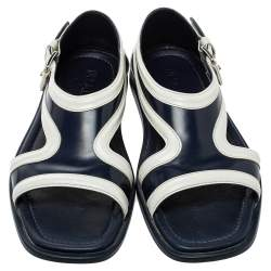 Prada Blue/White Leather Cutout Slide Sandals Size 43