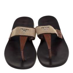 Prada Brown Leather And Fabric Thong Sandals Size 43.5