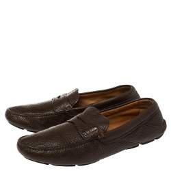 Prada Brown Leather Penny Loafers Size 42