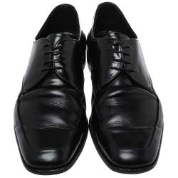 Prada Black Leather Lace Up Derby Size 43