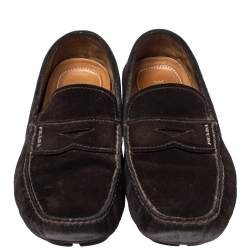 Prada Brown Suede Penny Slip On Loafers Size 43.5