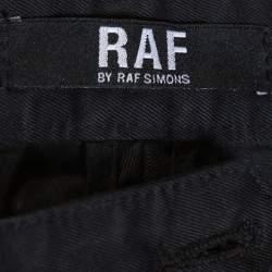 RAF by Raf Simons Black Denim Pleated Wide Leg Trousers XS