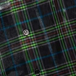 Raf Simons Black Plaid Check Sheer Oversized Layered Shirt S