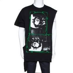 Raf Simons Black Printed Cotton Double Neck Detail T-Shirt L