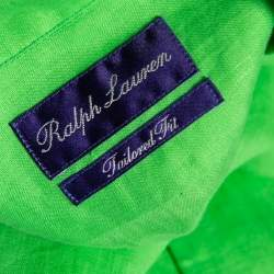 Ralph Lauren Green Linen Logo Embroidered Button Down Shirt XXL