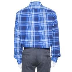 Ralph Lauren Navy Blue Plaided Button Front Shirt XL