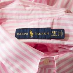 Ralph Lauren Pink Striped Cotton Logo Embroidered Oxford Shirt 2XB