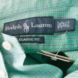 Ralph Lauren Green and Blue Checked Cotton Classic Button Down Shirt M