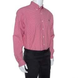 Ralph Lauren Red Checked Cotton Button Front Shirt L
