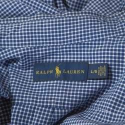 Ralph Lauren Blue Checked Cotton Button Down Collar Shirt L