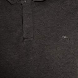 Ralph Lauren Charcoal Grey Cotton Pique Metal Logo Detail Polo T Shirt XL