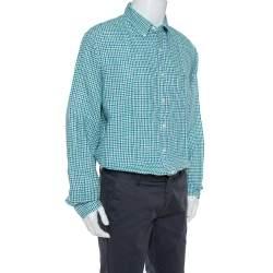 Ralph Lauren Bicolor Linen Checkered Button Front Shirt XL