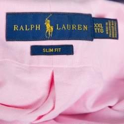 Ralph Lauren Light Pink Cotton Short Sleeve Slim Fit Shirt XXL