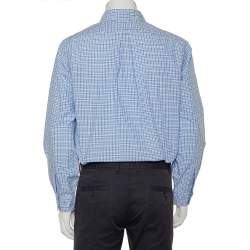 Ralph Lauren Blue & White Checkered Cotton Button Front Shirt L