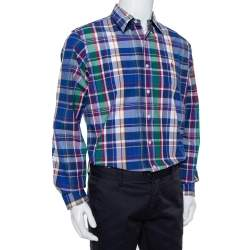 Ralph Lauren Multicolor Plaided Cotton Button Front Custom Fit Shirt L