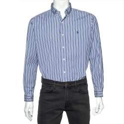 Ralph Lauren Blue Striped Cotton Long Sleeve Classic Fit Shirt M