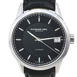 Raymond Weil Black Stainless Steel Leather Freelancer 2740-STC-20021 Automatic Men's Wristwatch 42.50 mm