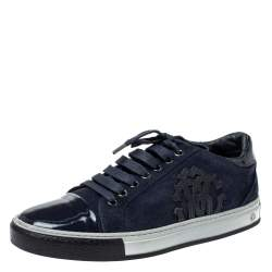 Roberto Cavalli Navy Blue Suede and Patent Leather Low Top Sneakers Size 40