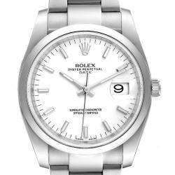 Rolex White Stainless Steel Oyster Perpetual Date 115200 Men's Wristwatch 34 MM