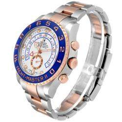 Rolex Silver 18K Rose Gold And Stainless Steel Yachtmaster II 116681 Men's Wristwatch 44 MM