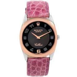 Rolex Black 18K Rose Gold and 18k White Gold Cellini Danaos 4233 Men's Wristwatch 34MM