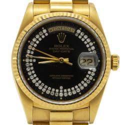 Rolex Black Special Diamonds 18K Yellow Gold Day-Date President Bracelet Watch 36MM