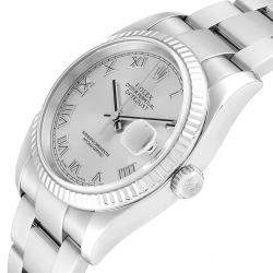 Rolex Silver 18K White Gold And Stainless Steel Datejust 116234 Men's Wristwatch 36 MM