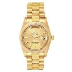 Rolex Champagne 18k Yellow Gold Day-Date President 18248 Men's Wristwatch 36 MM