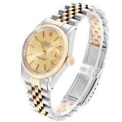 Rolex Champagne 18K Yellow Gold Datejust Vintage 16013 Men's Wristwatch 36 MM