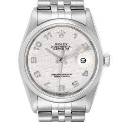 Rolex Silver Stainless Steel Datejust Anniversary Jubilee 16200 Men's Wristwatch 36 MM