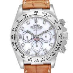 Rolex MOP Diamonds 18K White Gold Daytona 16519 Men's Wristwatch 40 MM