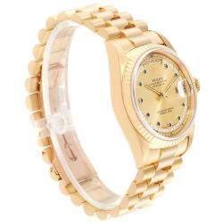 Rolex Champagne Blue Sapphire Diamonds 18K Yellow Gold President Day-Date 18238 Men's Wristwatch 36 MM