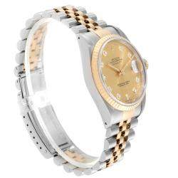 Rolex Champagne 18K Yellow Gold And Stainless Steel Datejust 16233 Men's Wristwatch 36 MM