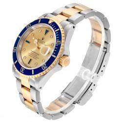 Rolex Champagne 18K Yellow Gold And Stainless Steel Submariner 16613 Men's Wristwatch 40 MM