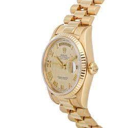 Rolex Champagne 18K Yellow Gold Day-Date 18238 Men's Wristwatch 36 MM