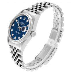 Rolex Blue Diamonds 18K White Gold And Stainless Steel Datejust Automatic 16234 Men's Wristwatch 36 MM