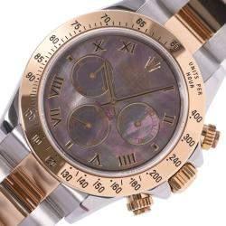 Rolex Black MOP 18K Yellow Gold And Stainless Steel Daytona 116523NR Men's Wristwatch 40 MM