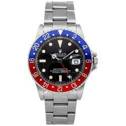 "Rolex Black Stainless Steel GMT-Master ""Pepsi"" 1675 Men's Wristwatch 40 MM"