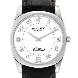 Rolex White 18K White Gold Cellini Danaos 4233 Men's Wristwatch 34 MM