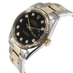 Rolex Black Diamonds 18K Yellow Gold And Stainless Steel Datejust 16013 Men's Wristwatch 36 MM