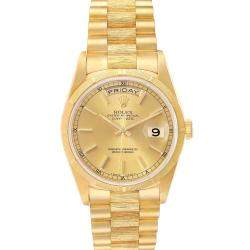 Rolex Champagne 18K Yellow Gold President Day-Date 18248 Men's Wristwatch 36 MM